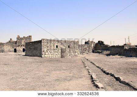 Courtyard of Qasr al-Azraq (is one of the Desert castles) - medieval fort where Thomas Edward Lawrence (Lawrence of Arabia) based his operations during the Arab Revolt, Jordan