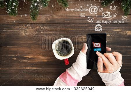 Hand Of Female Using Mobile Phone To Sending E-mail Message With Email Symbol And Envelope Icon. Chr