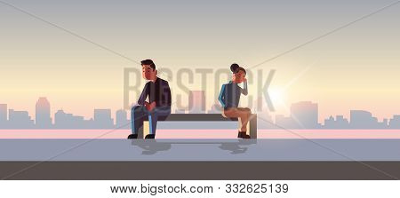 Unhappy Sad Couple In Depression Having Relationship Problem Life Crisis Break Up Divorce Concept Ma