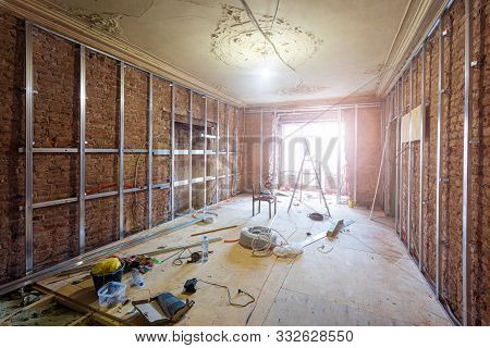 Construction Materials, Tools And Installed Rames For Plasterboard For Making Gypsum Walls On The Br