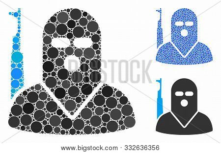 Terrorist Mosaic Of Filled Circles In Variable Sizes And Color Tints, Based On Terrorist Icon. Vecto