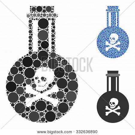 Poison Composition Of Small Circles In Variable Sizes And Color Tints, Based On Poison Icon. Vector