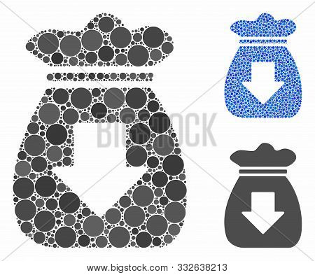 Profit Bag Mosaic Of Round Dots In Different Sizes And Color Tints, Based On Profit Bag Icon. Vector