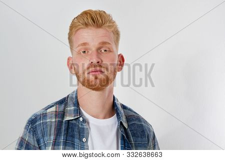 Close Up Portrait Of Sad Red Head Man Isolated On White Background