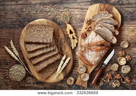 Healthy wholegrain sliced loaf with walnut & fig rye bread. High in vitamins, antioxidants and omega 3 with low gi. Health food to reduce high blood pressure, cholesterol and optimise a healthy heart