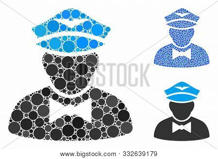 Airline Steward Composition Of Round Dots In Different Sizes And Shades, Based On Airline Steward Ic