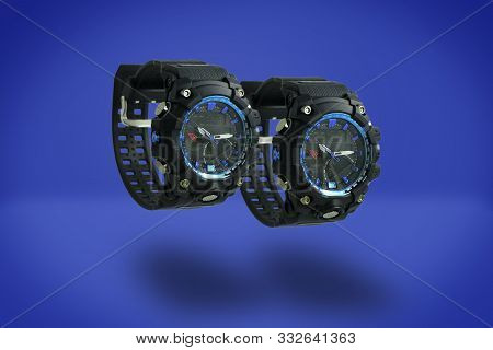 Sport Watch Isolated On Blue Background. Black Blue Sport Watch. Couple Watches A Pair For Men And W