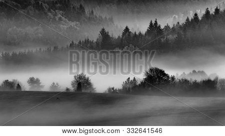 Fall Landscape In Polana Region, Slovakia. Black And White Country View At Sunrise. Silhouette Of Au