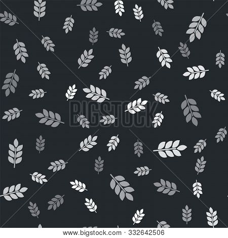 Grey Cereals Set With Rice, Wheat, Corn, Oats, Rye, Barley Icon Isolated Seamless Pattern On Black B