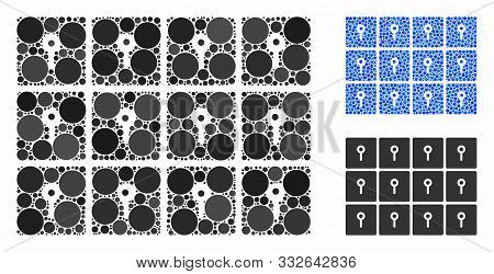 Lockers Composition Of Small Circles In Variable Sizes And Shades, Based On Lockers Icon. Vector Sma