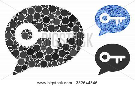 Key Message Mosaic Of Filled Circles In Variable Sizes And Color Tints, Based On Key Message Icon. V