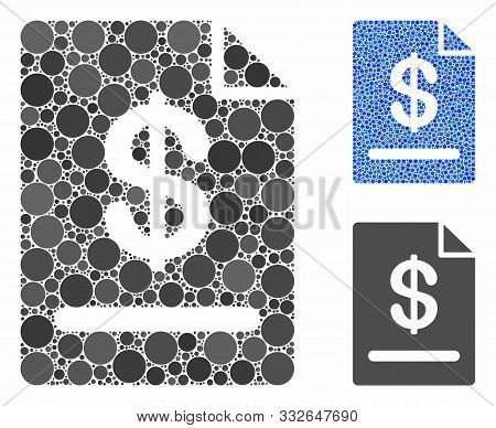 Invoice Mosaic Of Round Dots In Variable Sizes And Color Tones, Based On Invoice Icon. Vector Dots A
