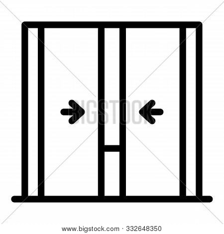 Closing Elevator Doors Icon. Outline Closing Elevator Doors Vector Icon For Web Design Isolated On W