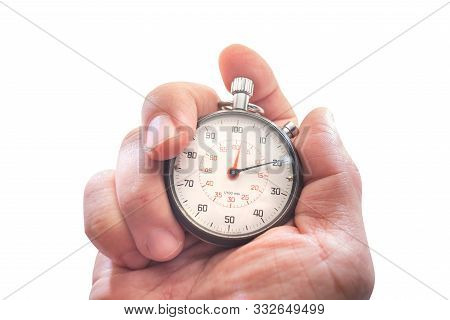 Hand Holding A Stopwatch Isolated On White Background With Clipping Path, Analogue Metal Stopwatch,