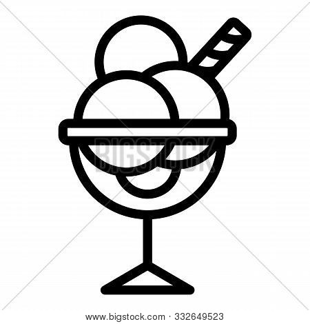 Icecream In A Glass Goblet Icon. Outline Icecream In A Glass Goblet Vector Icon For Web Design Isola