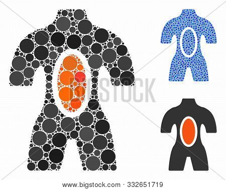 Human Anatomy Mosaic Of Round Dots In Various Sizes And Color Tinges, Based On Human Anatomy Icon. V