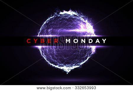 Cyber Monday Digital Background. Sale Flyer Or Banner Design Template. Vector Illustration Of Neon L