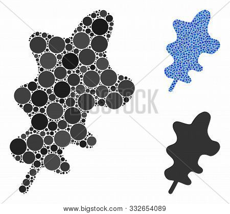 Oak Leaf Mosaic Of Filled Circles In Variable Sizes And Shades, Based On Oak Leaf Icon. Vector Rando