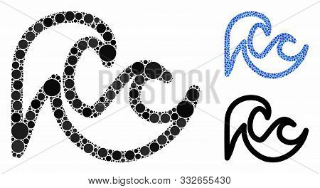 Tsunami Mosaic Of Small Circles In Variable Sizes And Color Hues, Based On Tsunami Icon. Vector Smal