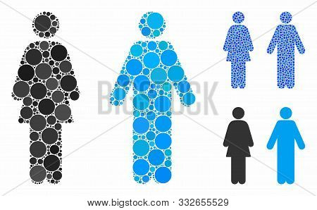 Wc Persons Mosaic Of Round Dots In Variable Sizes And Shades, Based On Wc Persons Icon. Vector Round
