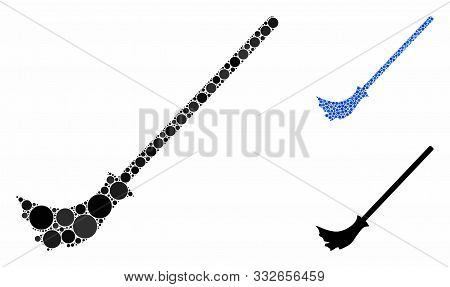 Broom Composition Of Spheric Dots In Different Sizes And Color Tinges, Based On Broom Icon. Vector R