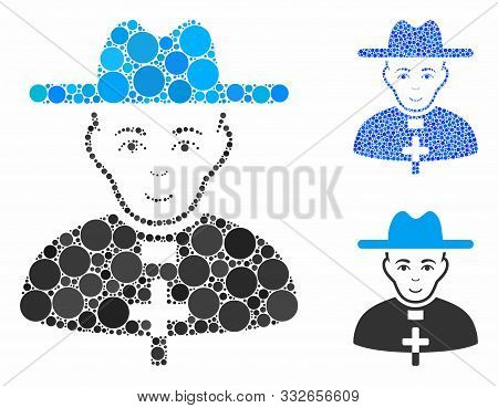 Catholic Priest Mosaic Of Small Circles In Different Sizes And Color Tones, Based On Catholic Priest