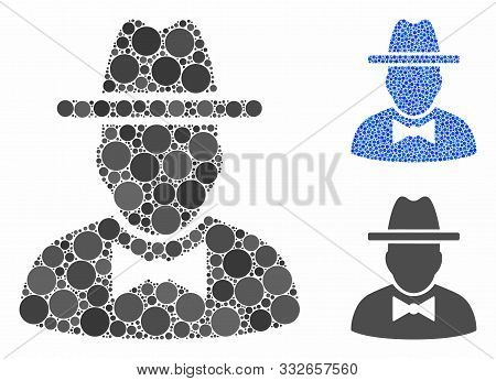 Spy Composition Of Round Dots In Various Sizes And Color Hues, Based On Spy Icon. Vector Round Dots