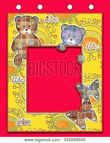 Cute Kids Flag With Bears On Red Background