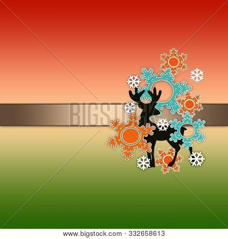 Deer Card Gradient Poster Illustration Celebration, Trendy