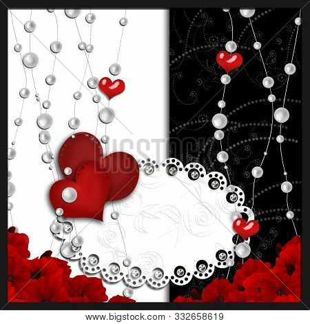 Valentines Day Heart And Beads, Red Flowers Card Illustration