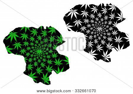 Zanjan Province (provinces Of Iran, Islamic Republic Of Iran, Persia) Map Is Designed Cannabis Leaf