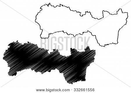 Kosice Region (regions Of Slovakia, Slovak Republic) Map Vector Illustration, Scribble Sketch Kosice