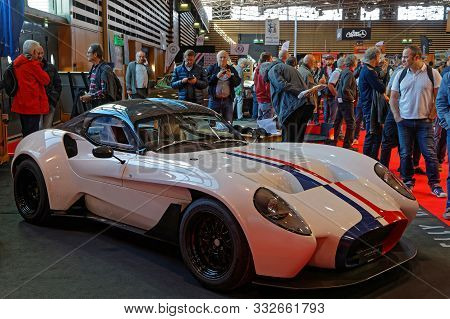 Lyon, France, November 8, 2019 : Crowd At The Motorshow. The Salon Epoq Auto Stands In Lyon Since 19