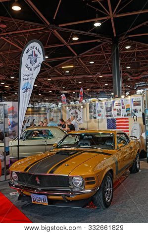 Lyon, France, November 8, 2019 : Ford Mustang At The Motorshow. The Salon Epoq Auto Stands In Lyon S