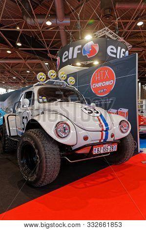Lyon, France, November 8, 2019 : Tuned Volkswagen Beetle At The Motorshow. The Salon Epoq Auto Stand