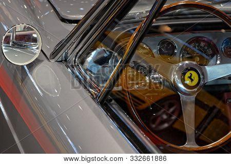Lyon, France, November 8, 2019 : Ferrari 250gt Driving Wheel At The Motorshow. The Salon Epoq Auto S