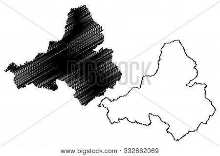 Trencin Region (regions Of Slovakia, Slovak Republic) Map Vector Illustration, Scribble Sketch Trenc