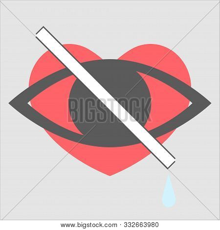 A Hidden Heart For Users Of A Social Network. No Likes. Vector Illustration Of A Heart Icon Hidden F