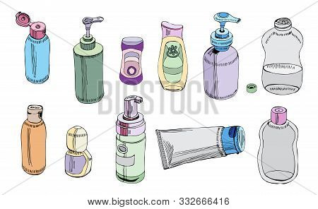 Collection Of   Hand Drawn Sketch Of Cosmetic Package. Bottle, Tube, Flask. Monochrome Elements Isol