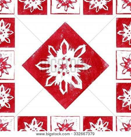 Seamless Pattern Of  Red Snowflakes In Frame Isolated On White Background. Hand Made Lino Cut. Eleme