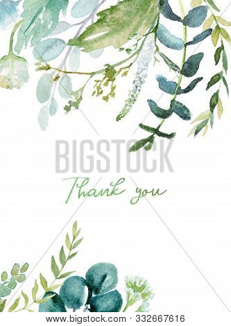 Watercolor Floral Illustration - Leaf Frame / Border, For Wedding Stationary, Greetings, Wallpapers,