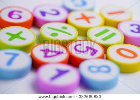 Math Number Colorful On White Background : Education Study Mathematics Learning Teach Concept.