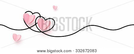 Continuous Line Heart Shape Border With Realistic Paper Heart On White Background For Valentines, Wo