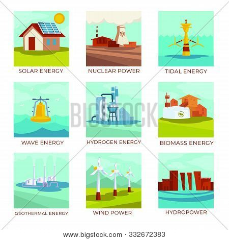 Energy Sources, Power Plants And Natural Resources Isolated Icons