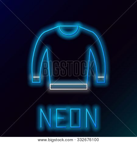 Blue Glowing Neon Line Sweater Icon Isolated On Black Background. Pullover Icon. Colorful Outline Co