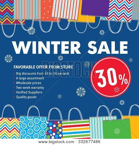 Winter Sale 30%. Various Bags On Blu Background And Snowflakes Fall. Advertising Model