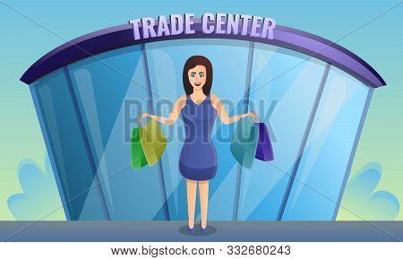 Shop Trade Center Concept Banner. Cartoon Illustration Of Shop Trade Center Vector Concept Banner Fo