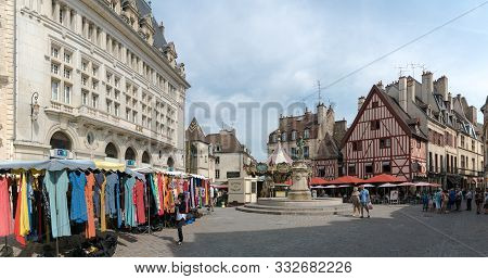 Market Day On The Francois Rude Square In The Historic Old City Center Of Dijon