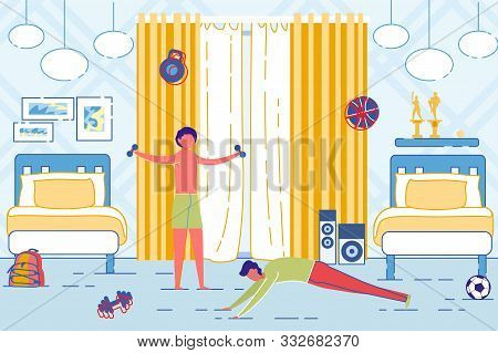Father And Son Doing Morning Exercises On Bedroom Interior Background. Family Healthy Lifestyle, Hom
