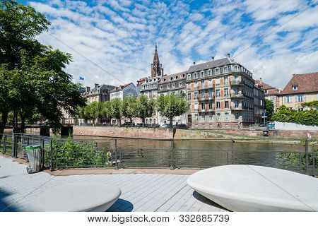 Strasbourg, Bas-rhin / France - 10 August 2019: Panorama View Of The Historic Old Town And Canals Of